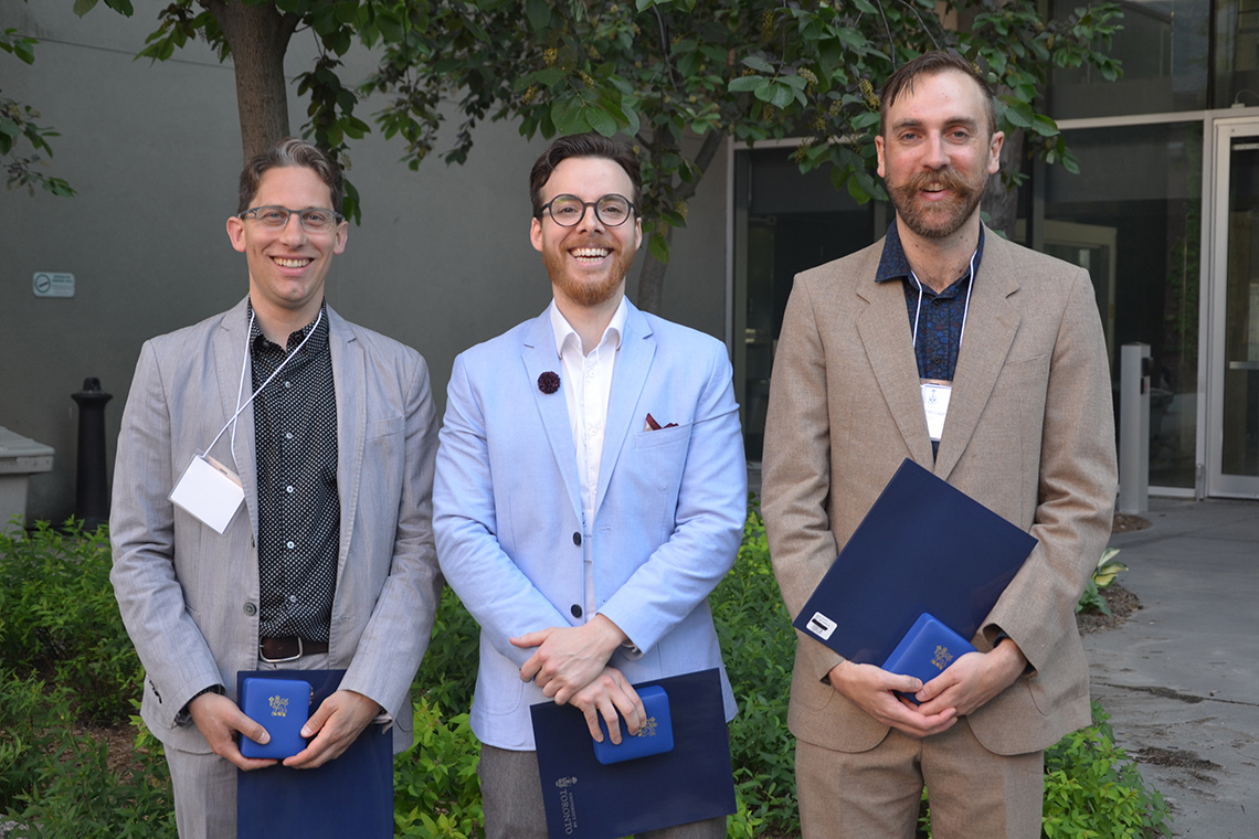 Photo of three U of T winners of the Governor General's academic gold medal