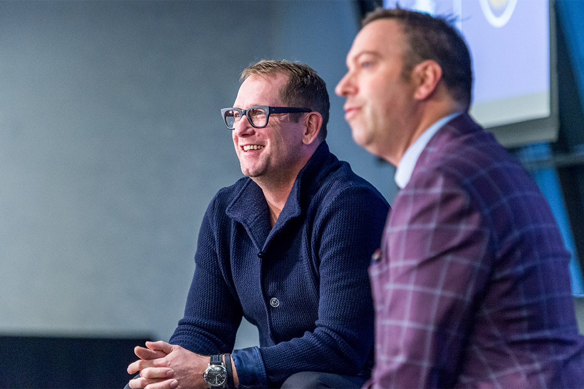 Nick Nurse and Elliotte Friedman on stage