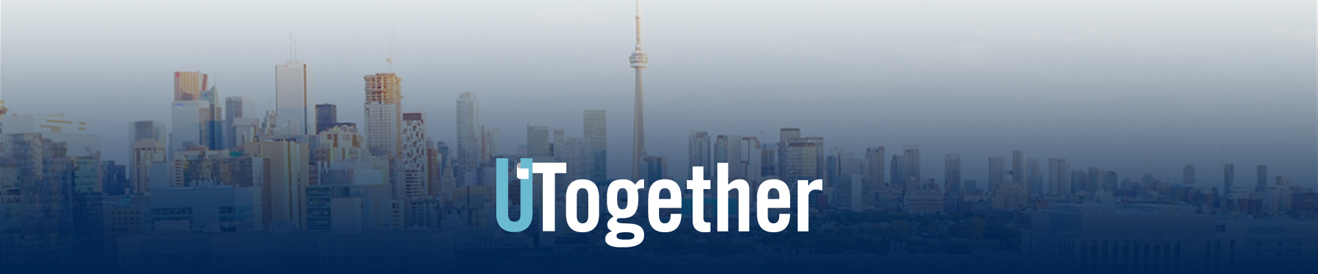 "The words ""UTogether"" displayed on top of the Toronto skyline."