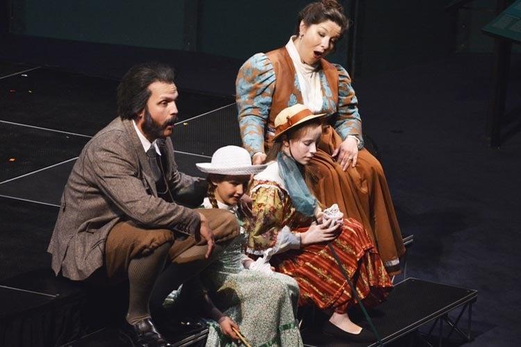 Actors rehearsing Bells of Baddeck