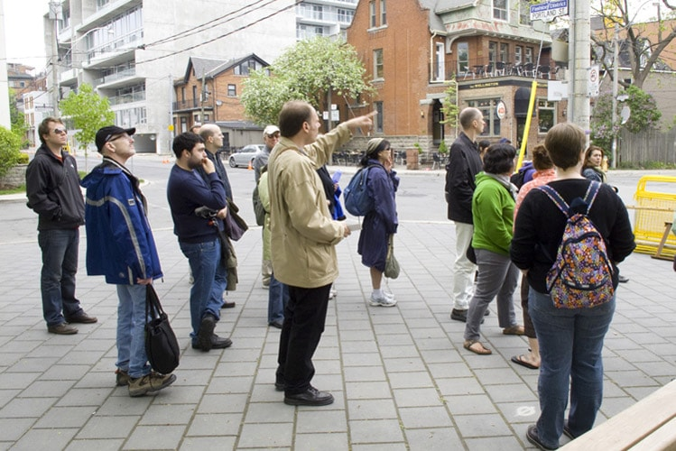 Group of people on a tour of downtown Toronto