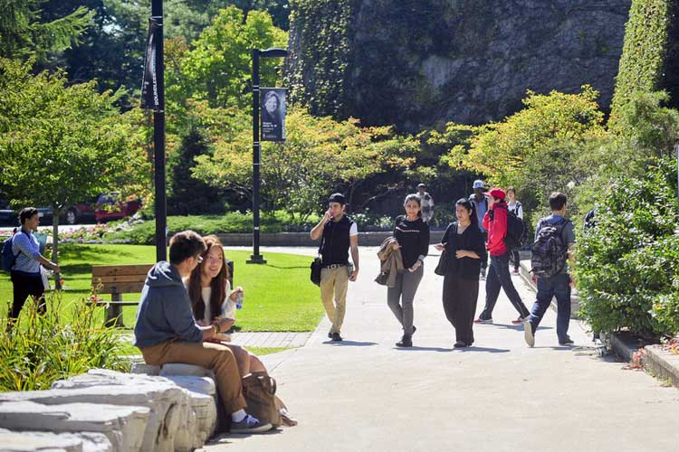 photo of students strolling on UTSC campus
