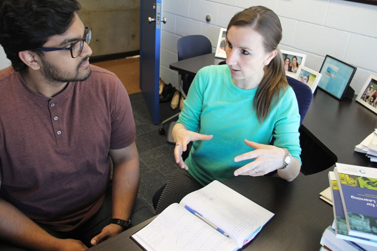 Undergraduate student Darrin Wijeyaratnam with Assistant Professor Ashley Stirling