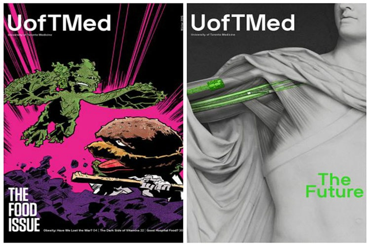 Photos of two covers of U of T Med magazine