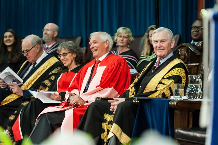 photo of Bartleman with Keren Rice, Chancellor Wilson and former chancellor Jackman