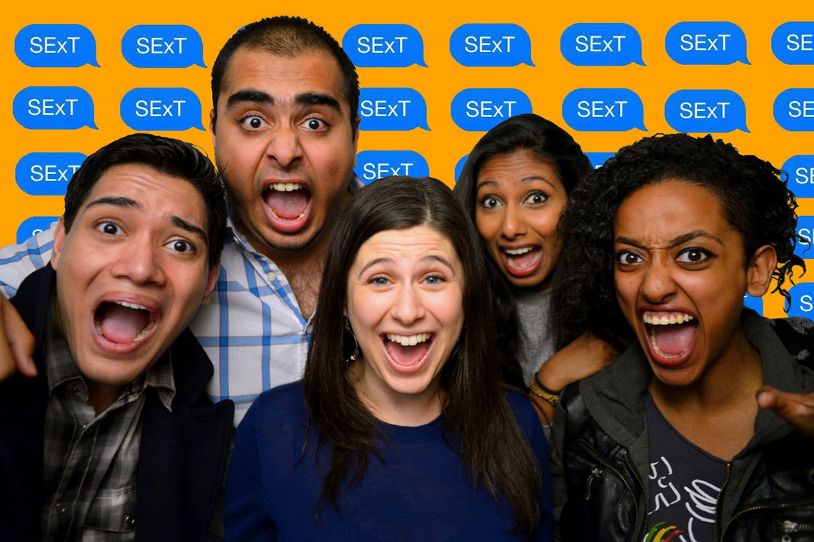 Photo of Shira Taylor with some of the cast of her play SExT