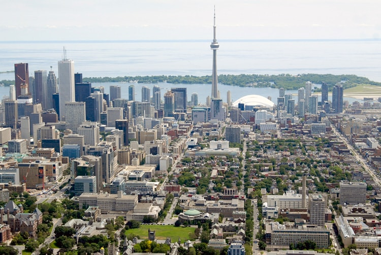 photo of aerial shot of downtown Toronto including U of T campus