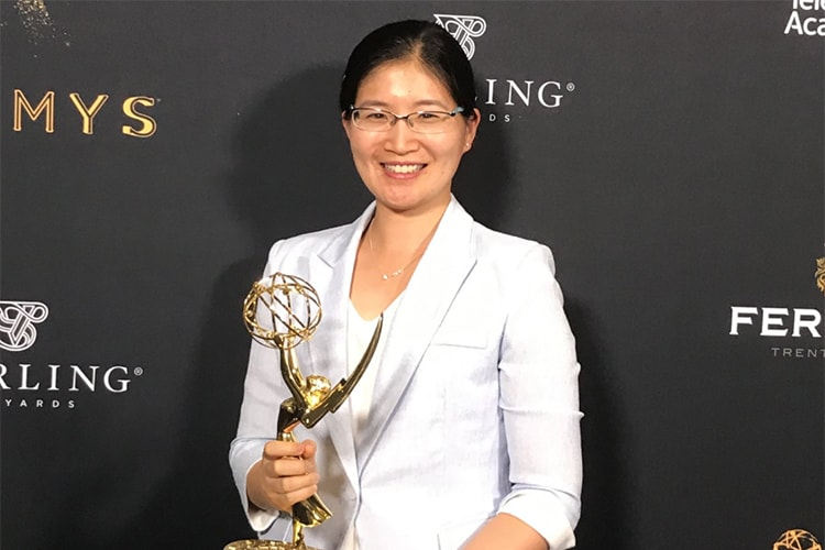 Photo of Vivienne Sze with Emmy