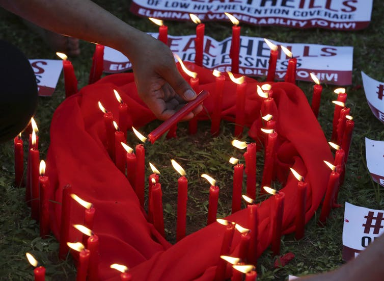 Photo of World AIDS Day symbol