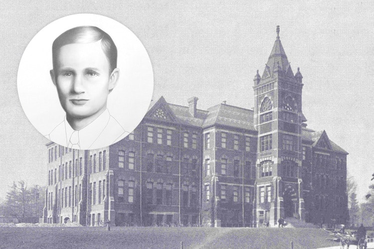 Photo illustration of Erwin Hart and original Engineering building