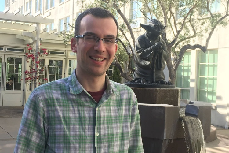 PhD candidate Noah Lockwood outside of Industrial Light & Magic's (ILM) San Francisco studios