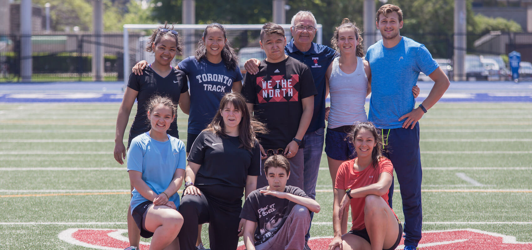Maggie MacDonnell (bottom row, second from left) with her Salluit Run Club at the University of Toronto