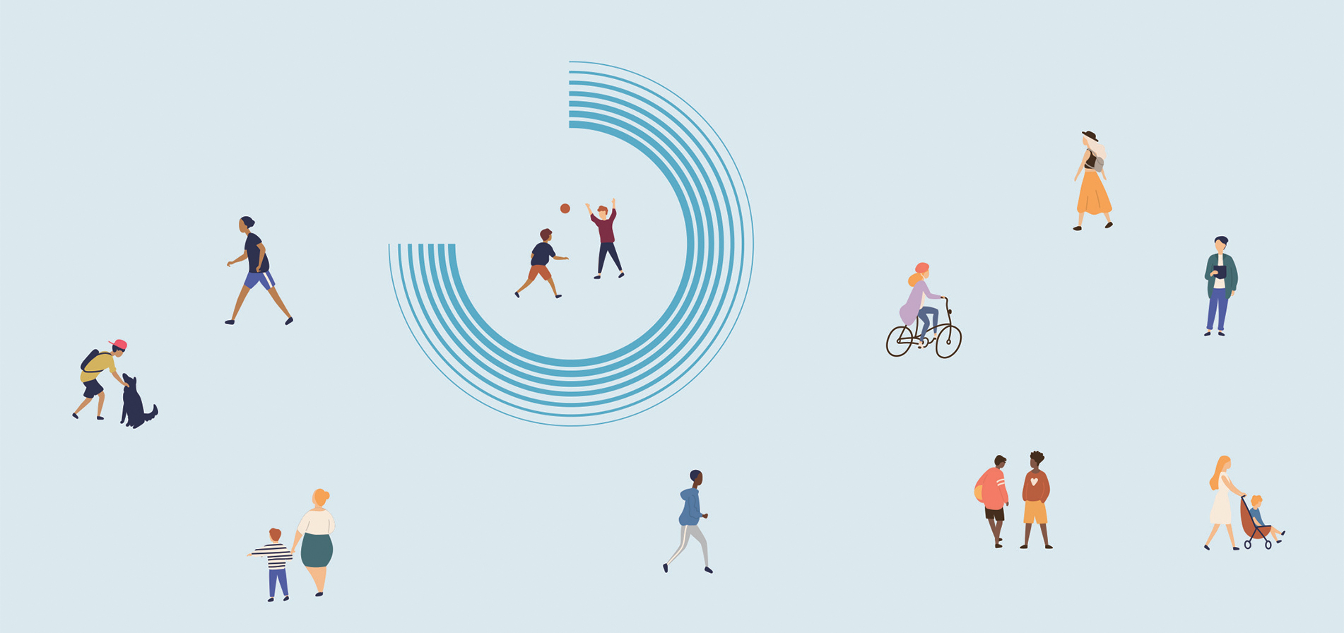An illustration of people walking, playing with a ball, petting a dog, pushing a stroller and riding a bike on a blue background.