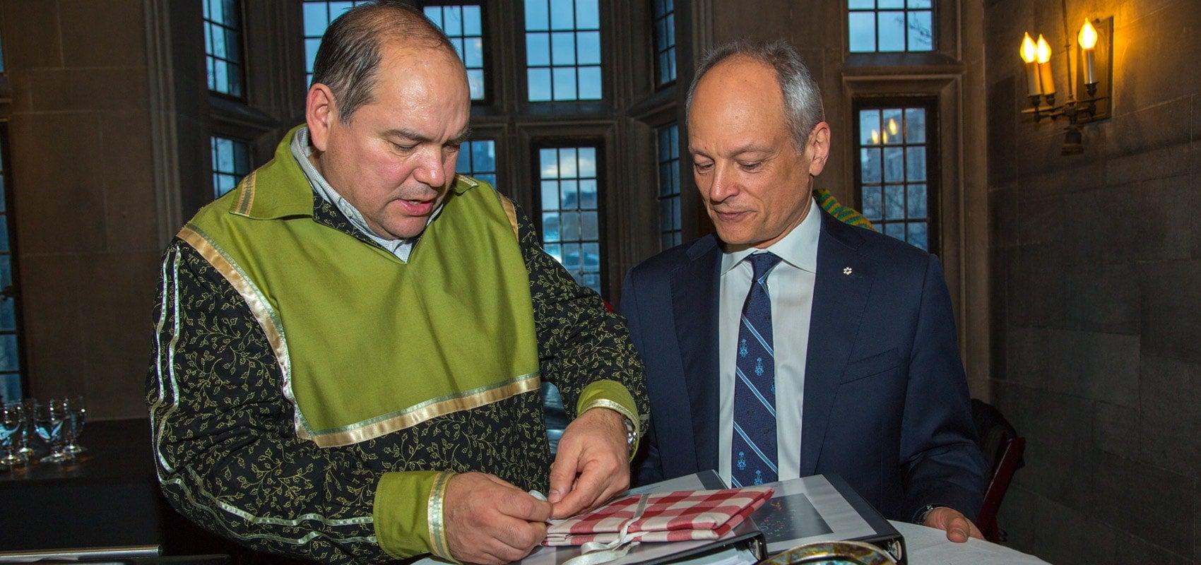 UofT President Gertler with Indigenous student representative
