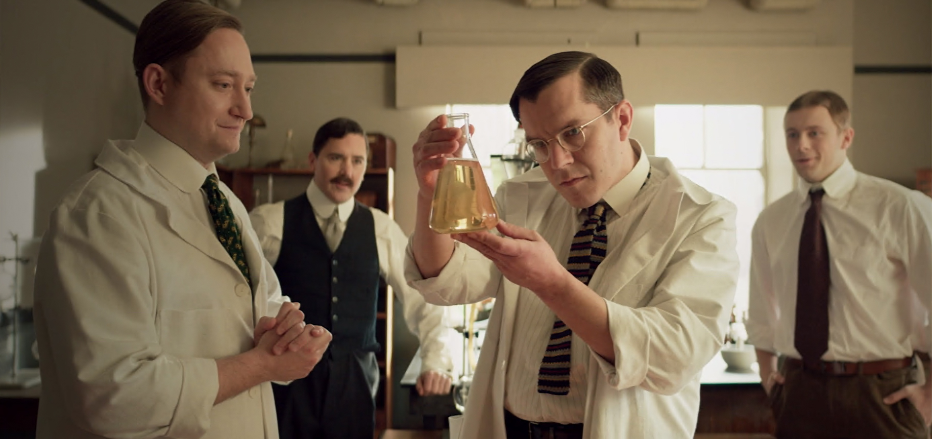 Still from a Heritage Moment about insulin with Frederick Banting,Charles BestJ.J.R. MacleodandJames Collip