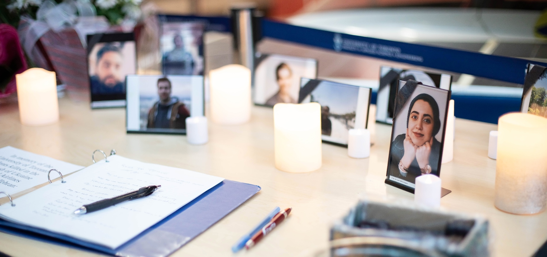 Photos commemorate the University of Toronto students killed in the Flight PS752 crash.