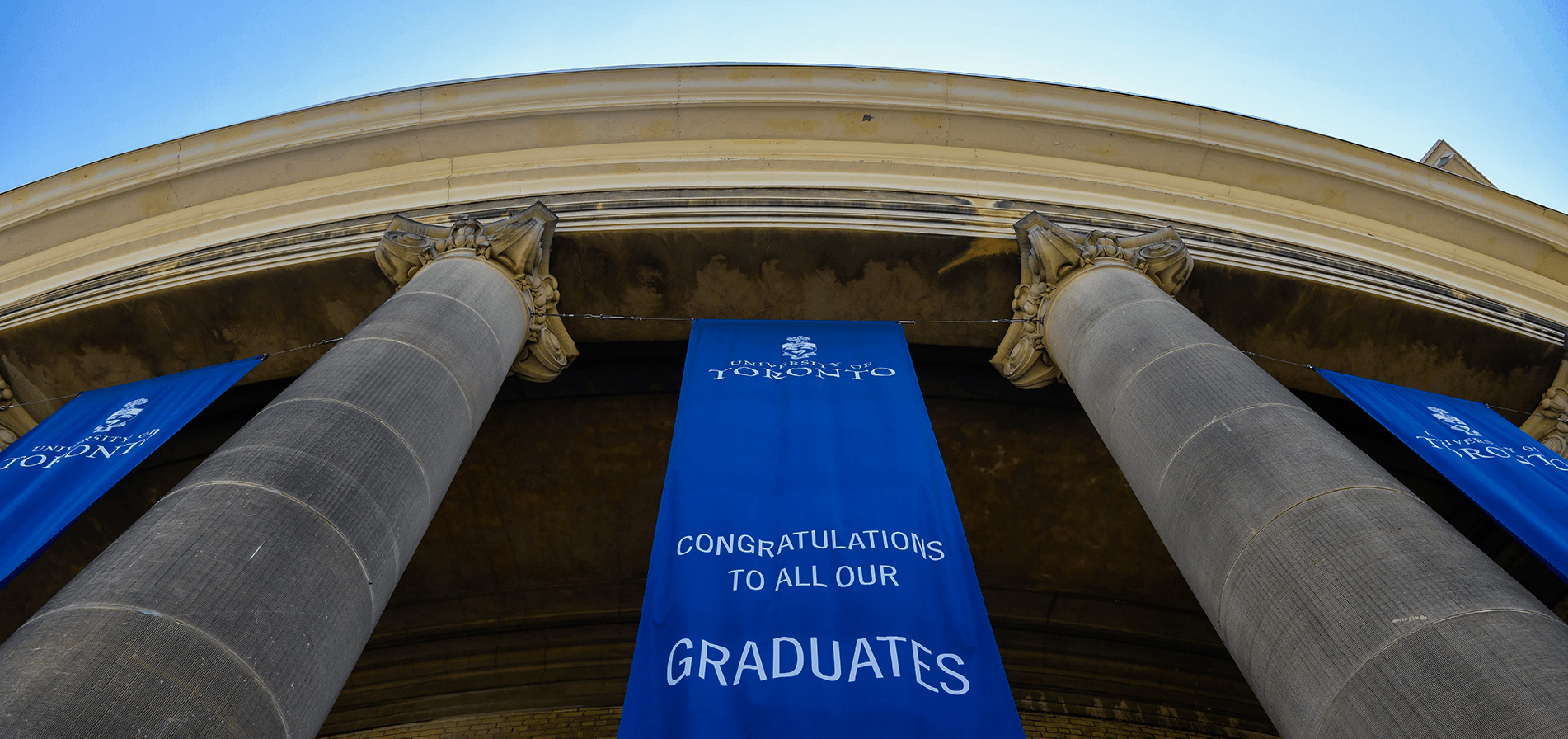 Banners hang from Convocation Hall.