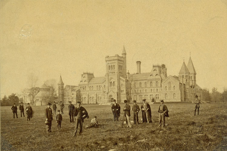 Students in the 1880s standing in front of University College