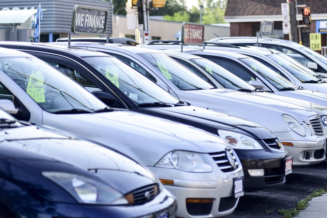 Cars at an auto dealership
