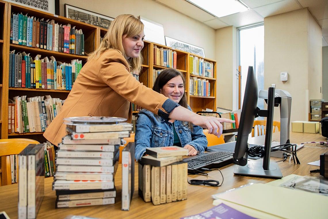 OISE librarians Nailissa Tanner and Jenna Mlynaryk