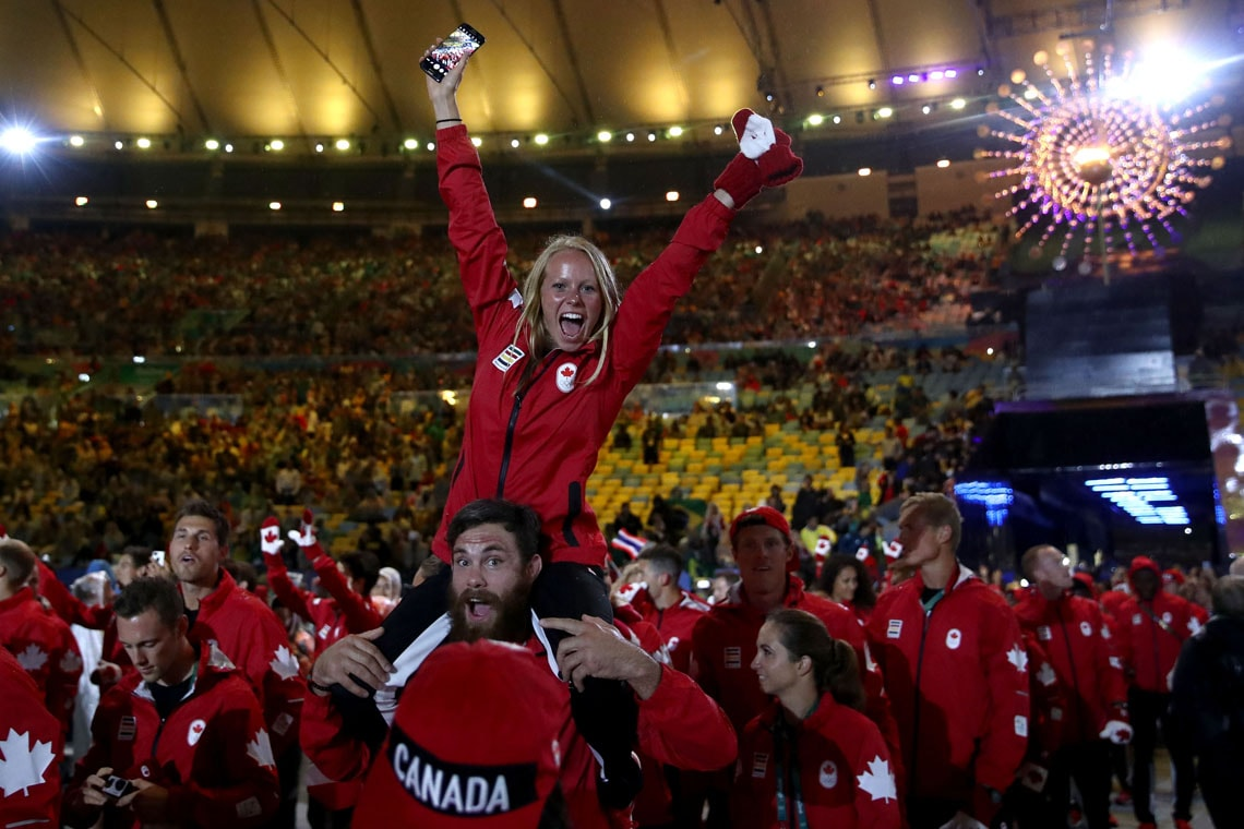 Members of Team Canada participate in Rio Olympics closing ceremonies