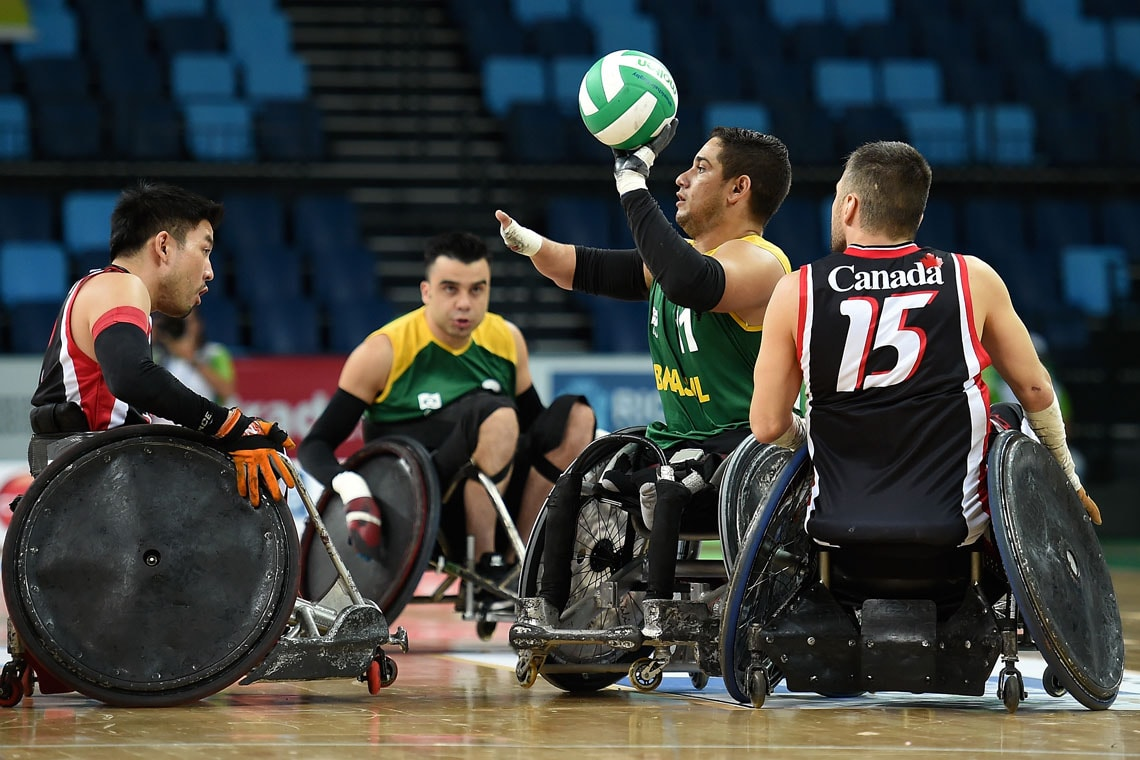 Brazilian and Canadian rugby players at a test event for the 2016 Paralympics