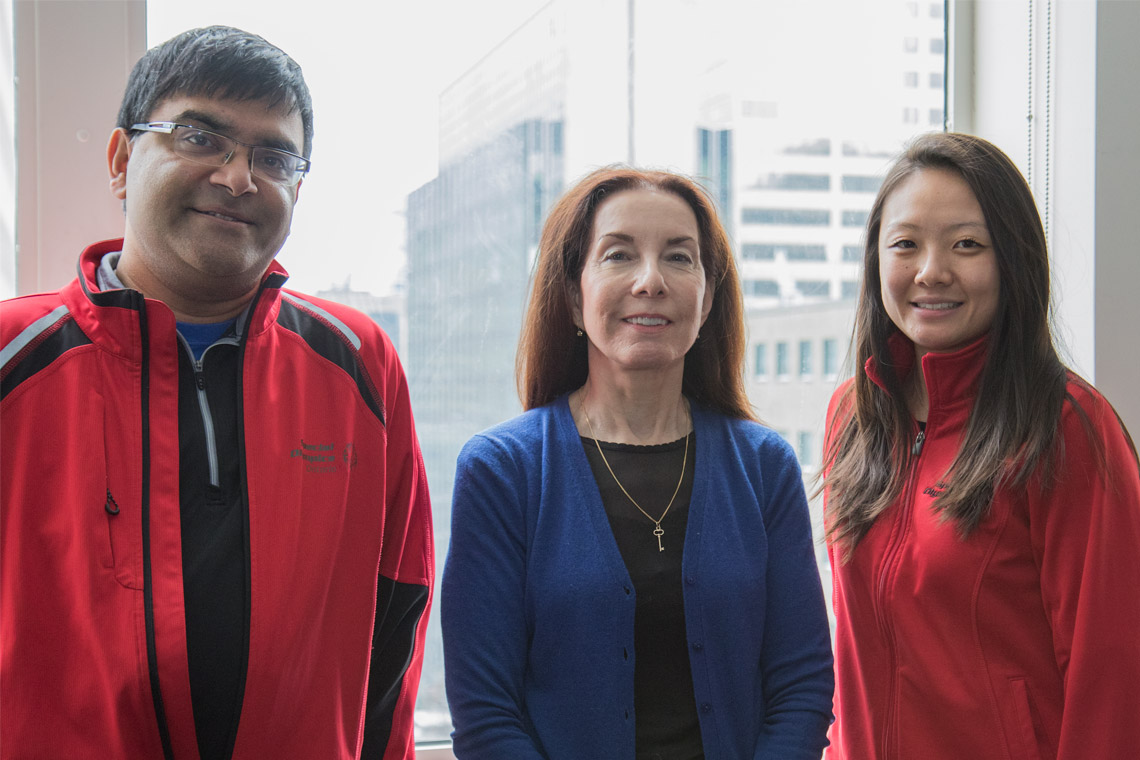 Photo of James Noronha, YiWen Shao and Rebecca Renwick