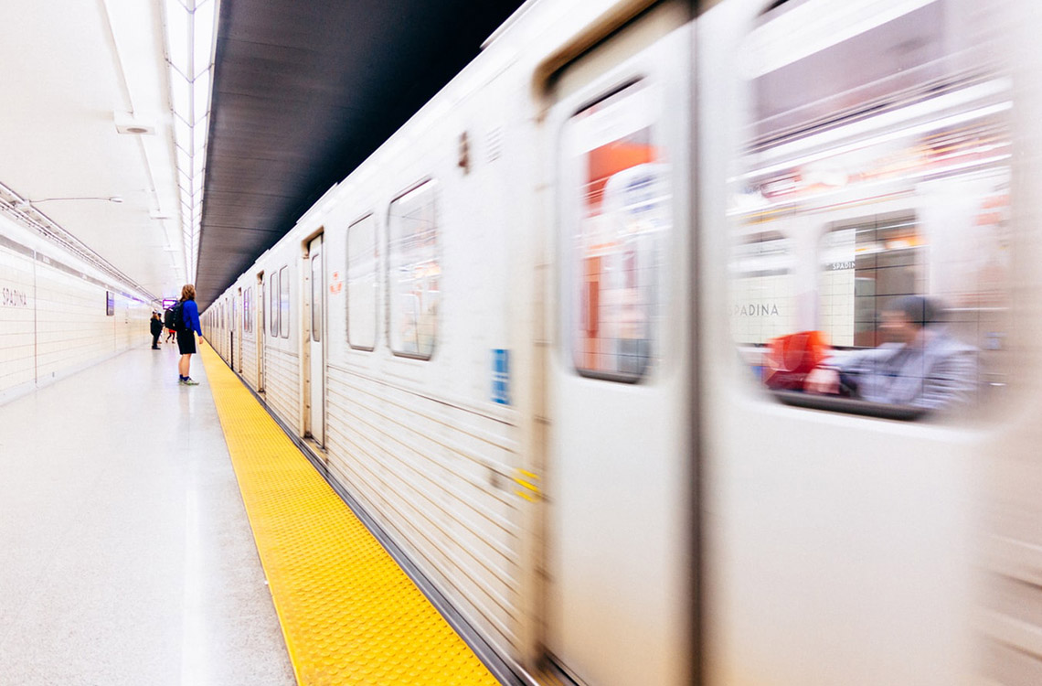 Photo of a TTC subway in a subway station
