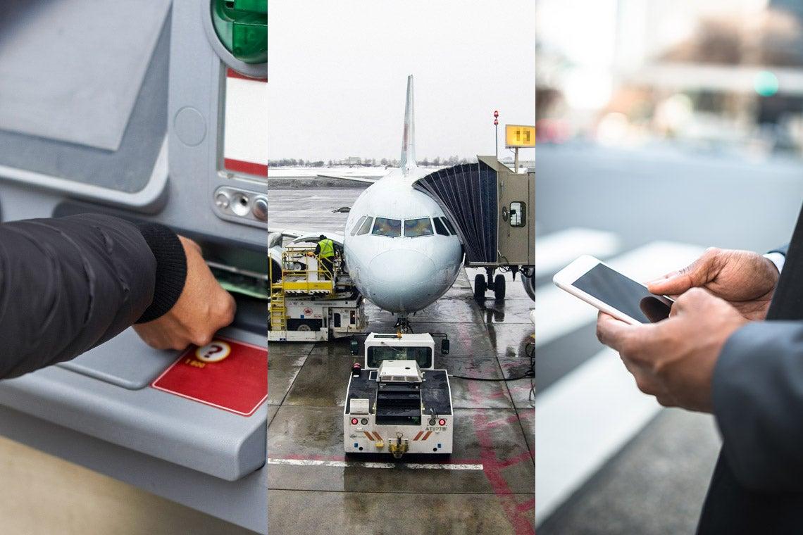 Banking, air travel, telecom photo composite