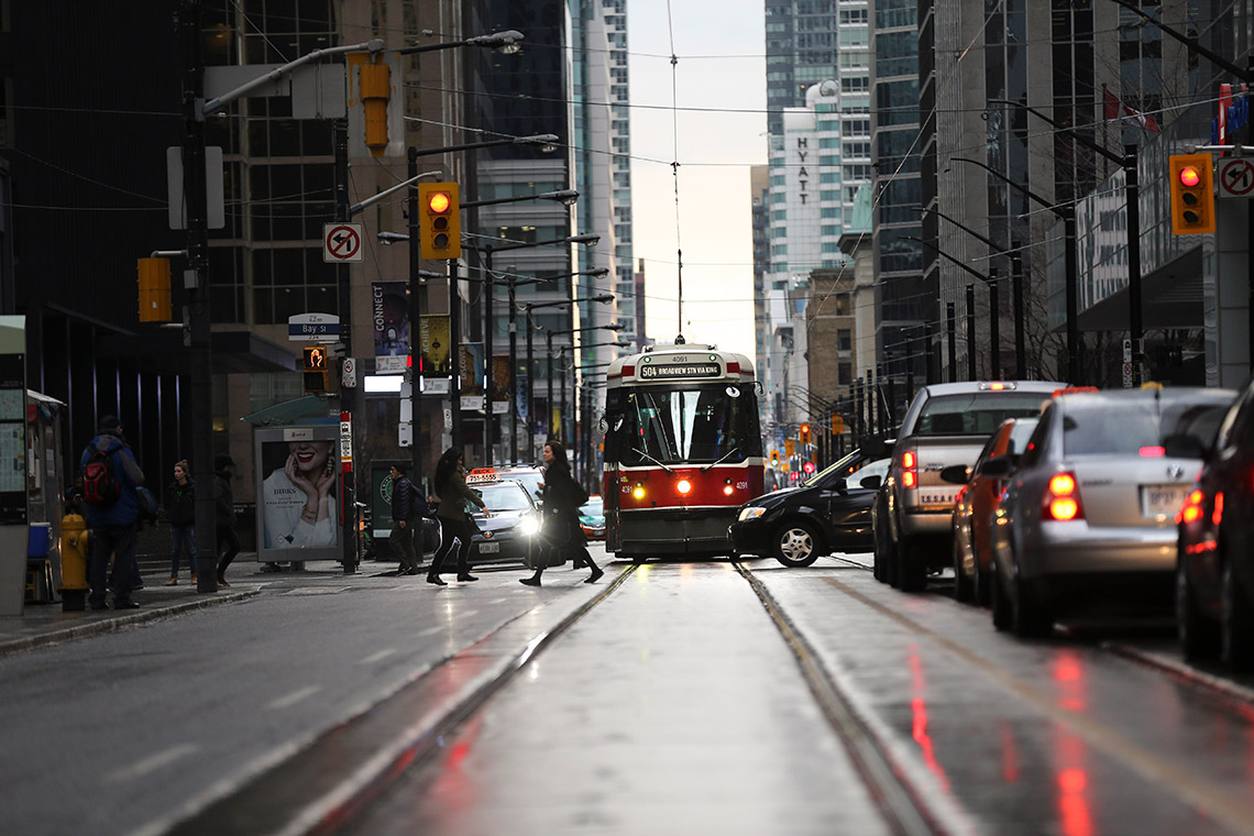 Photo of Toronto streetcar in traffic