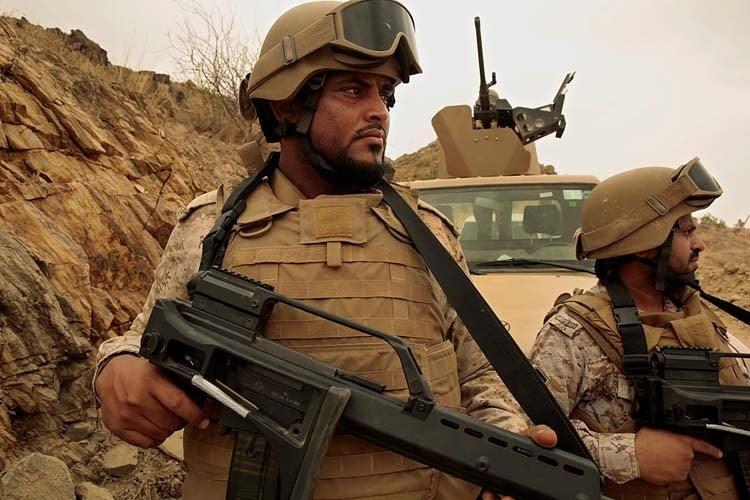 Saudi soldiers on patrol
