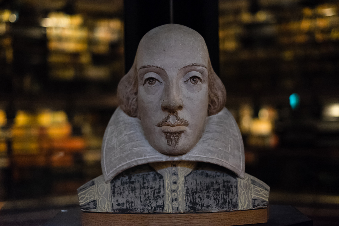 Shakespeare bust in Fisher library