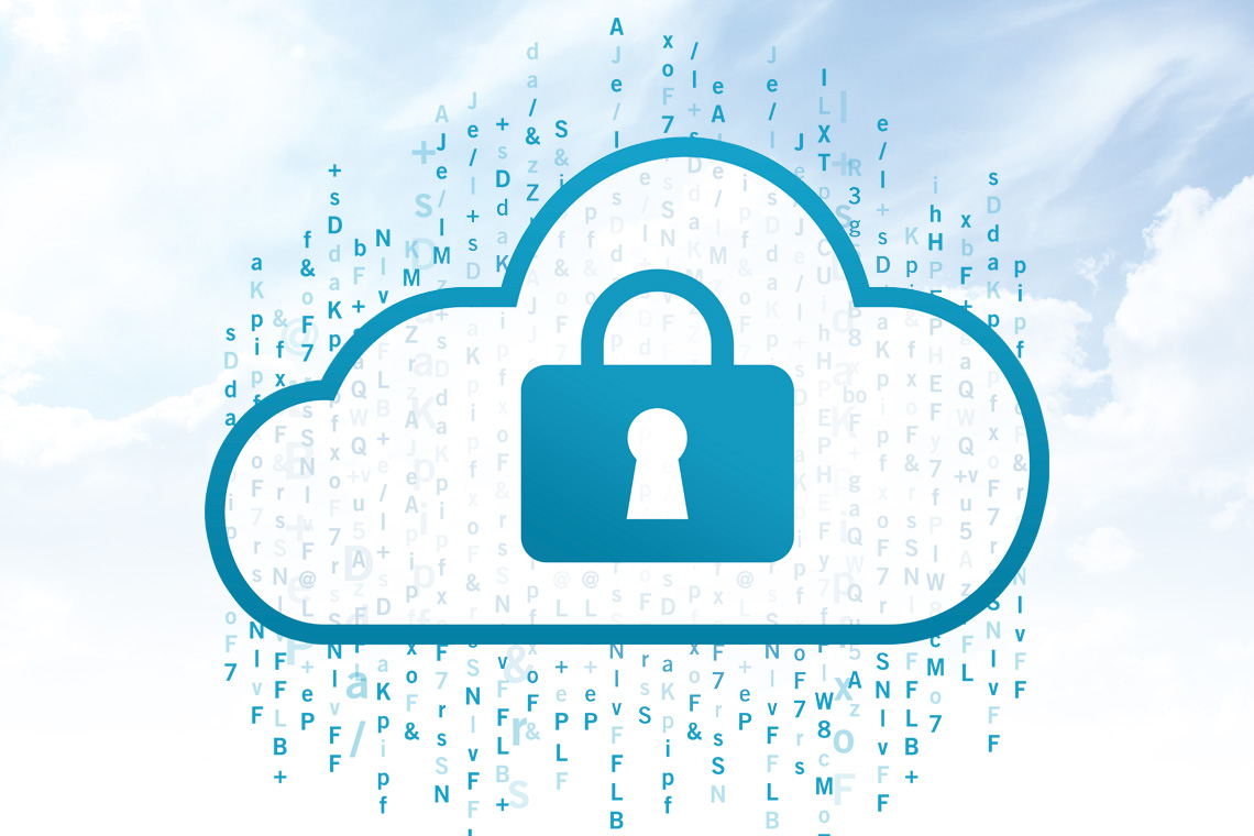 An illustration of a padlocked cloud raining random letters symbolizes the work of cryptography startup SHIELD Crypto Systems