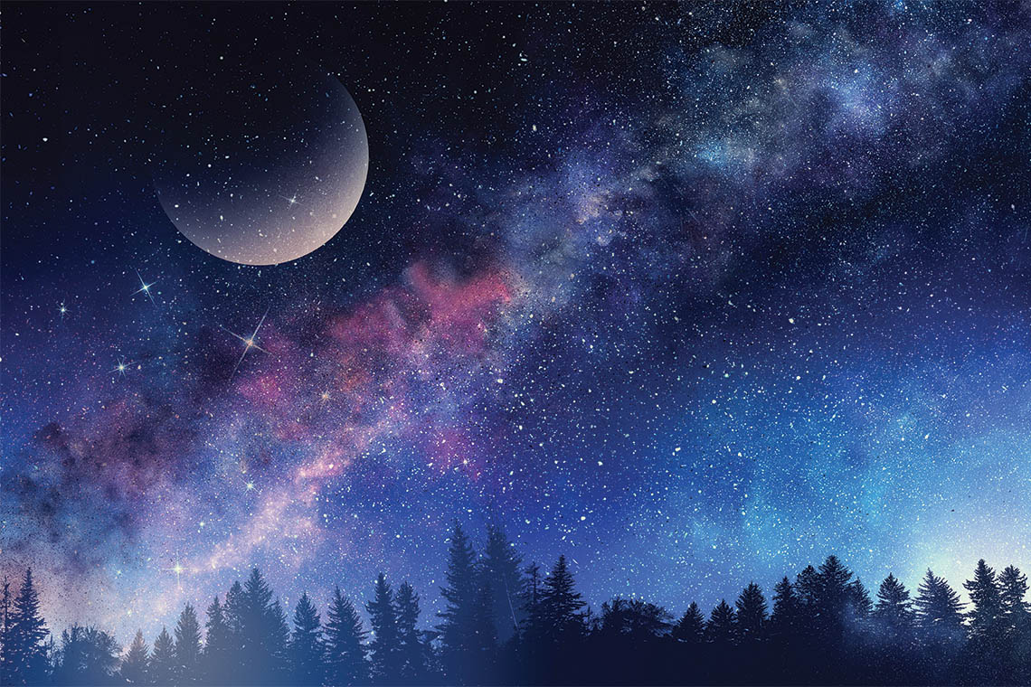 illustration of the milky way and a crescent moon