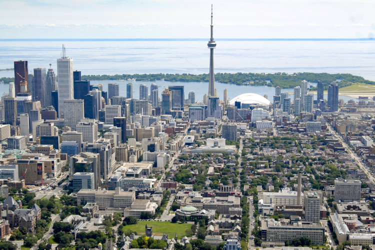 Toronto skyline with u of t campus in the foreground