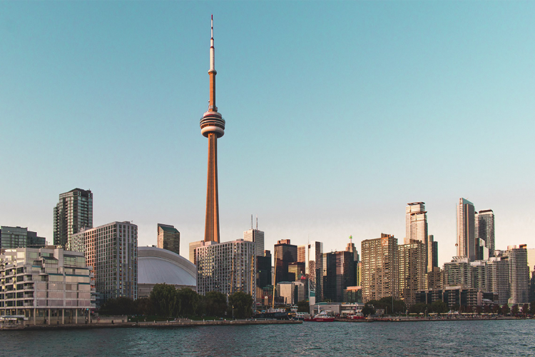 Photo of Toronto's skyline, including the CN Tower