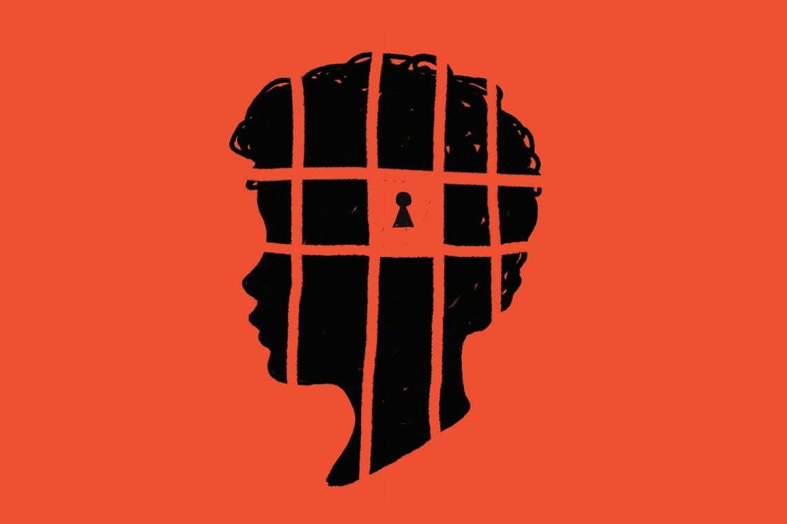 A graphic of a child silhouette with a cage and lock