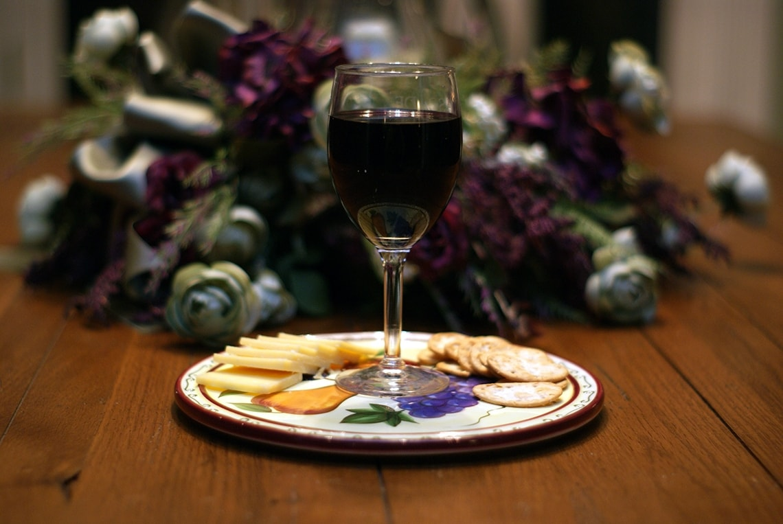 Photo of wine and cheese