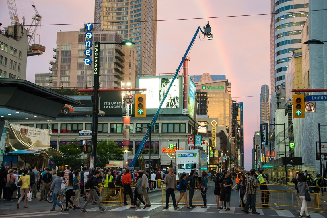photo of filming on Yonge Street