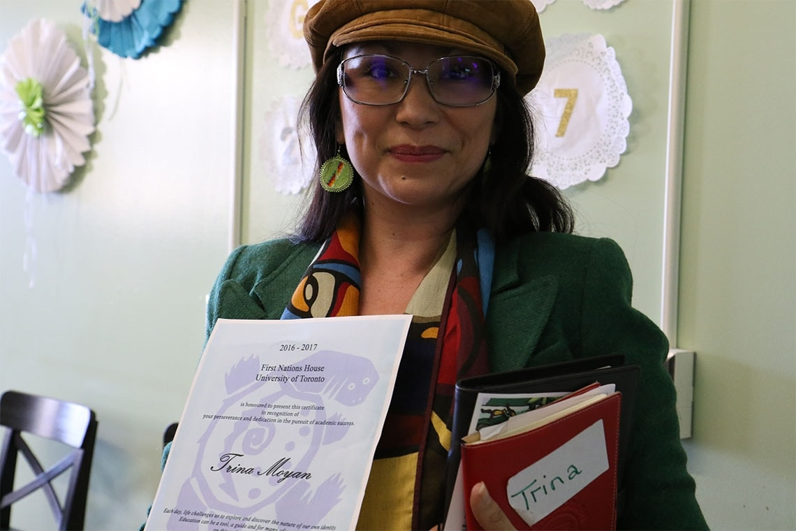 student, Trina Moyan at First Nations House grad ceremony