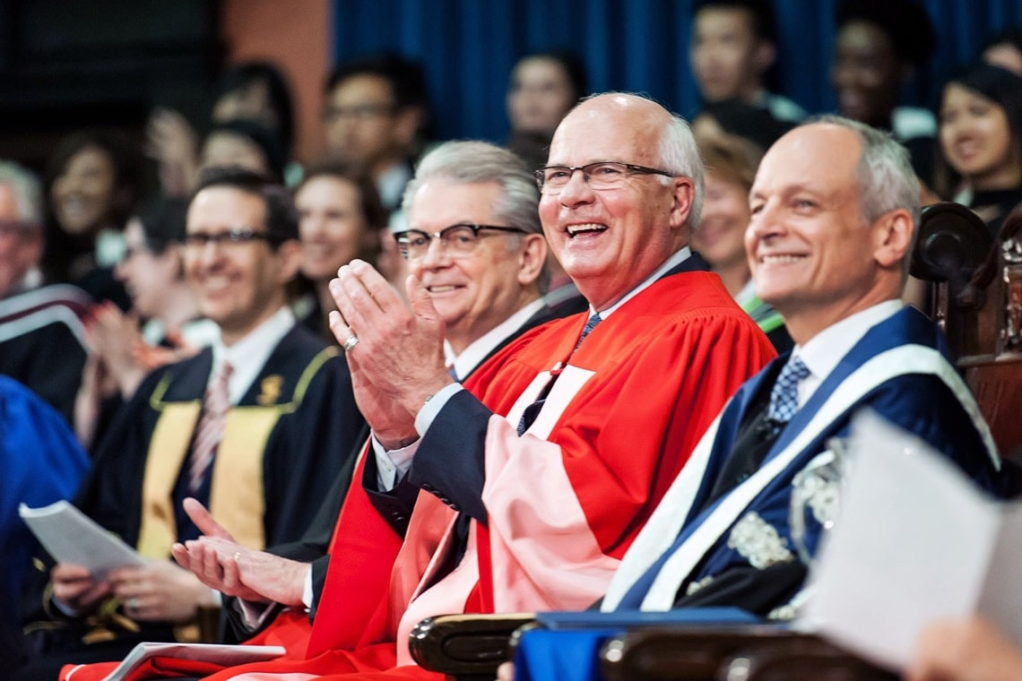 photo of Mansbridge, President Gertler and Brian Stewart
