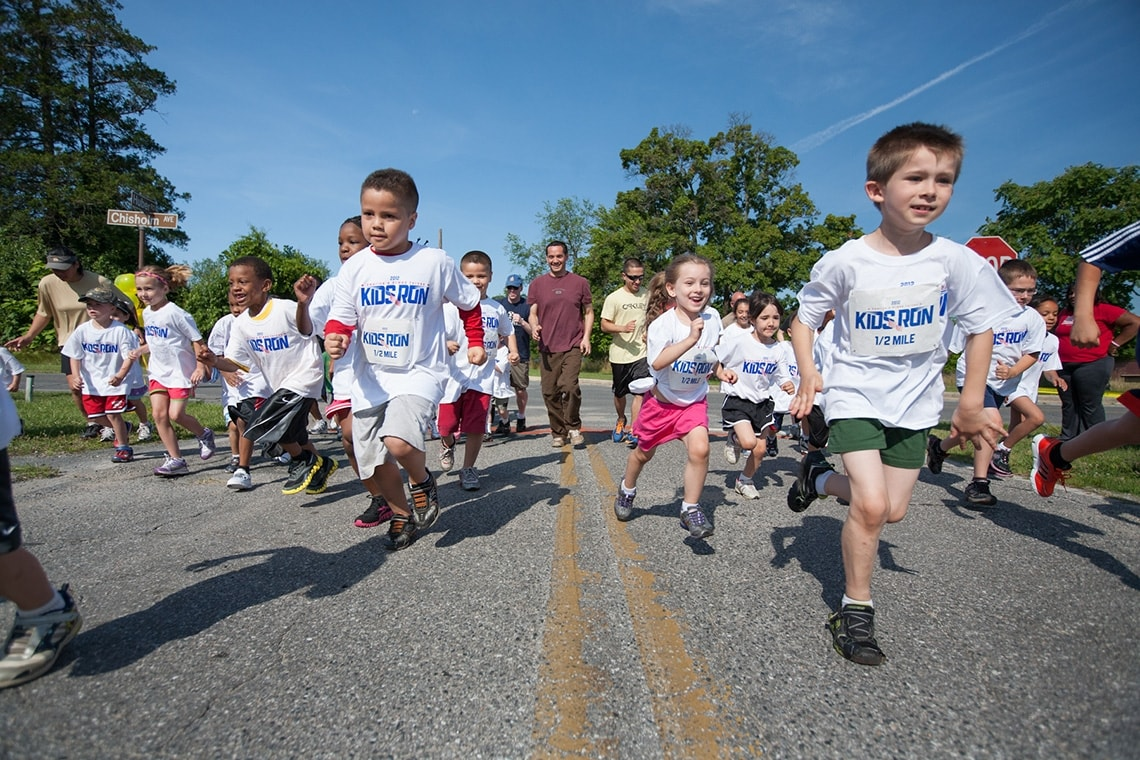 photo of kids running