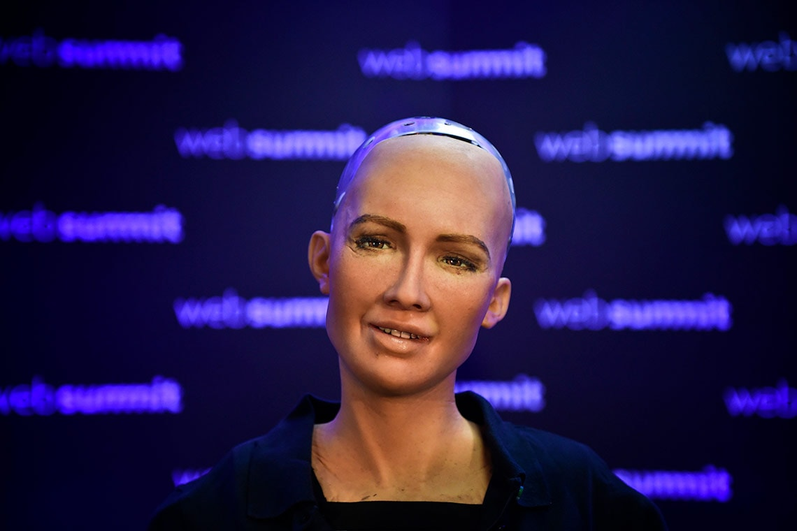 Photo of Sophia, a robot