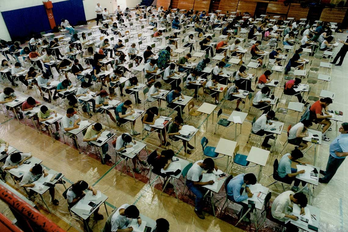 Photo of students writing exam