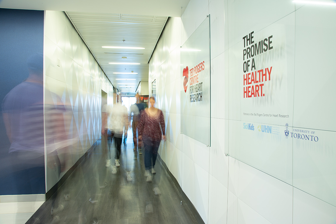 Photo of people in hallway at Ted Rogers Centre for Heart Research