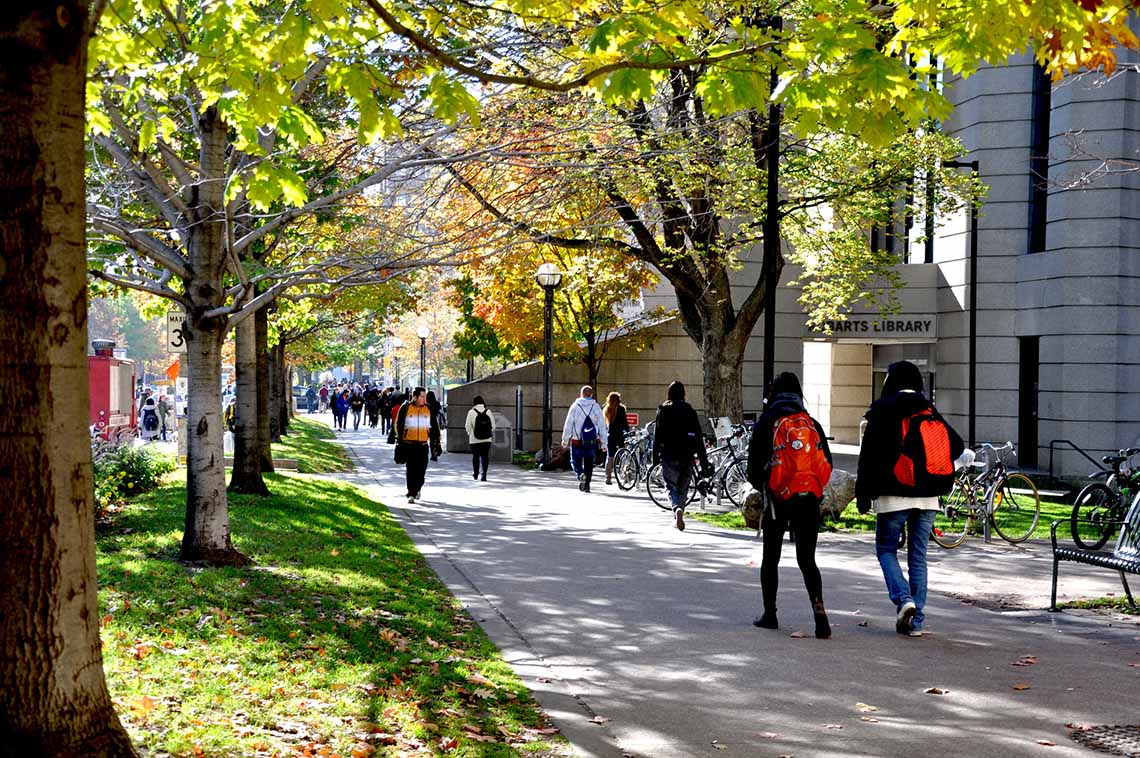 Photo of students on campus