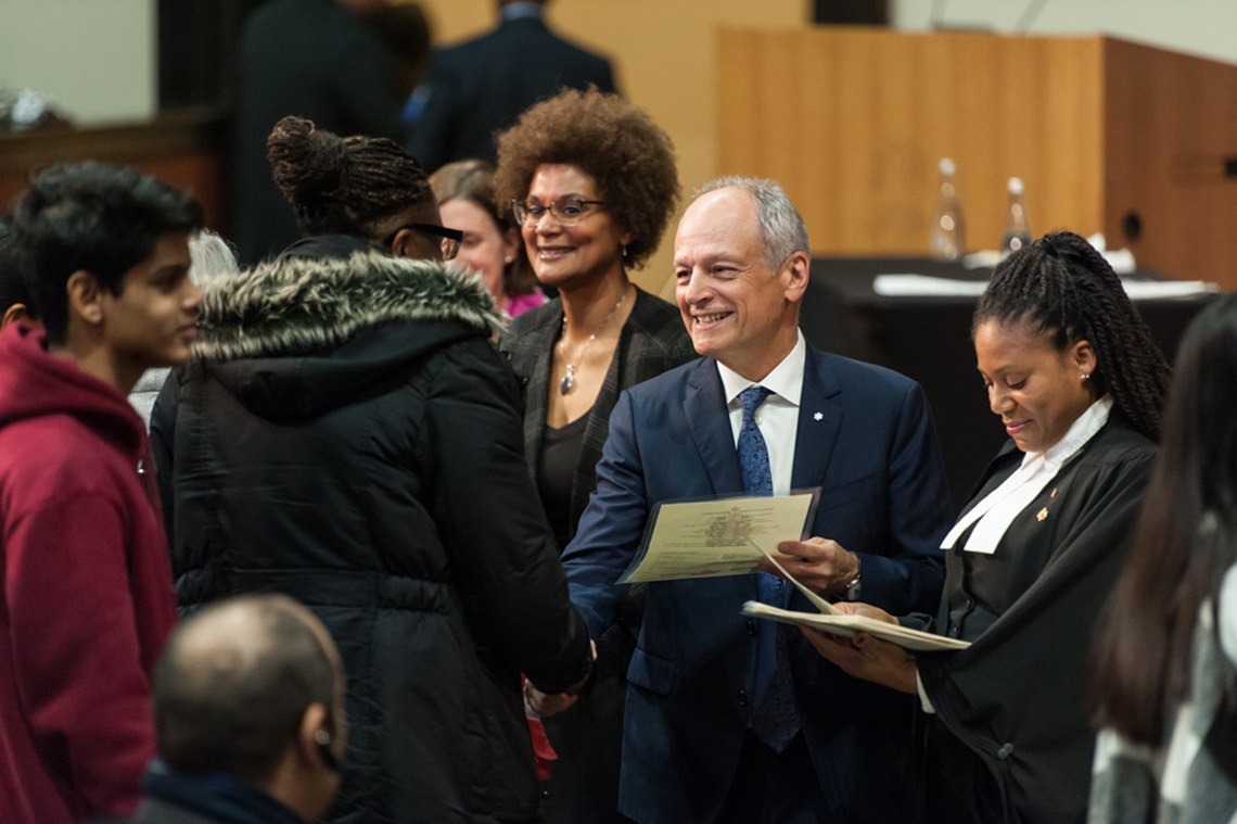 Photo of Meric Gertler at citizenship ceremony