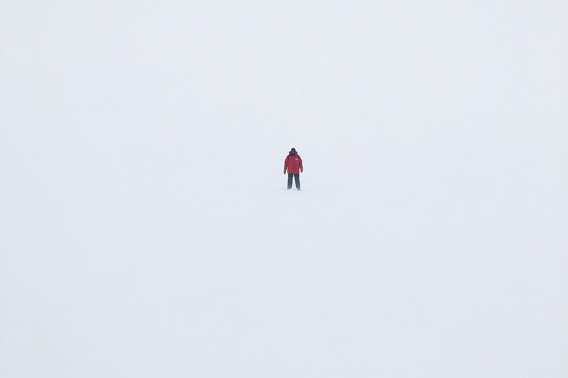 Photo of Matt Young in Antarctica snow