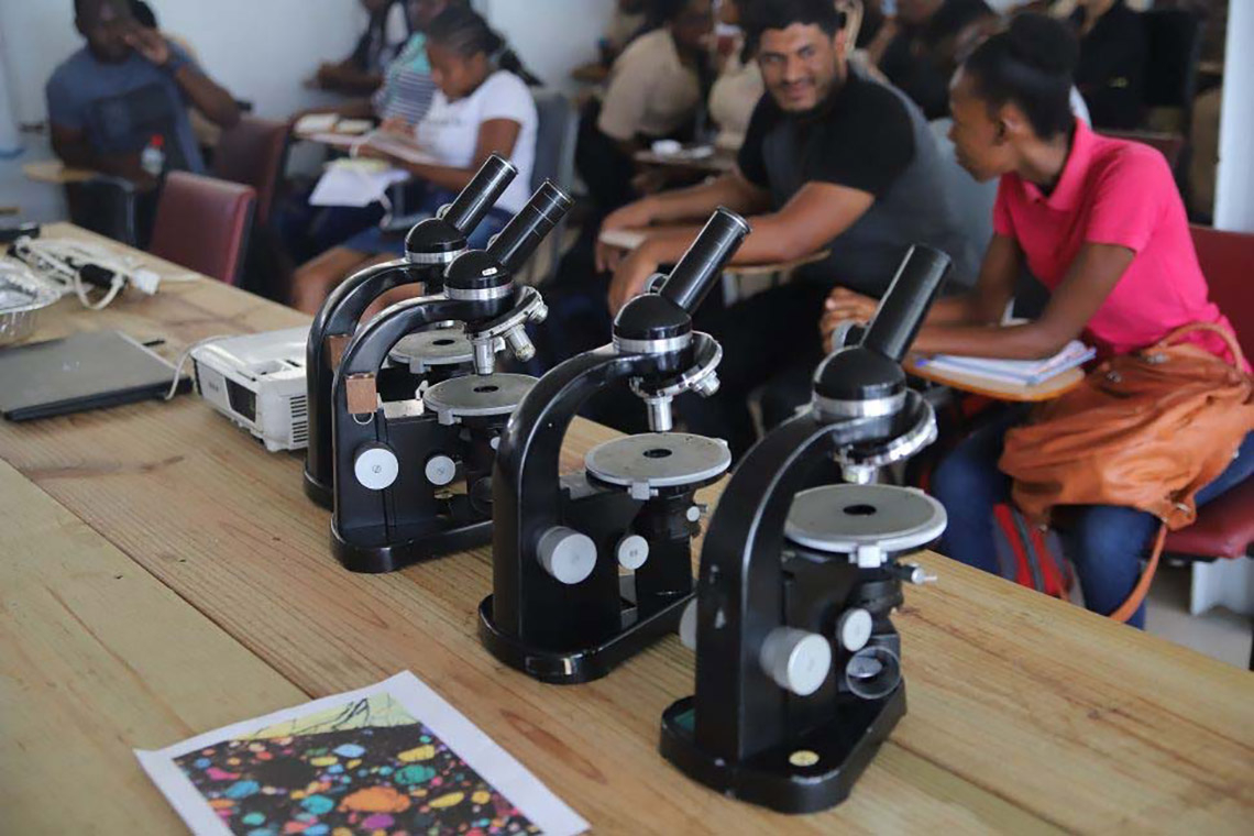 Photo of microscopes now at University of Guyana