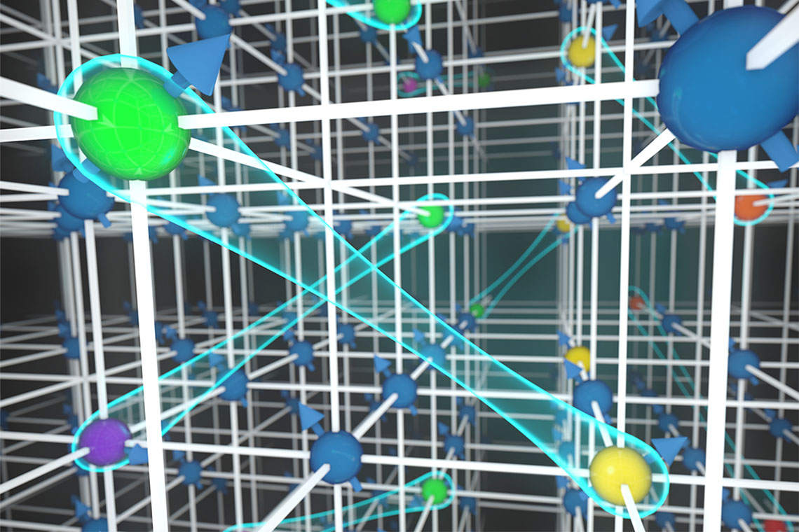 Detail of graphic depicting weak interactions among neutral fermionic atoms in an ultracold gas